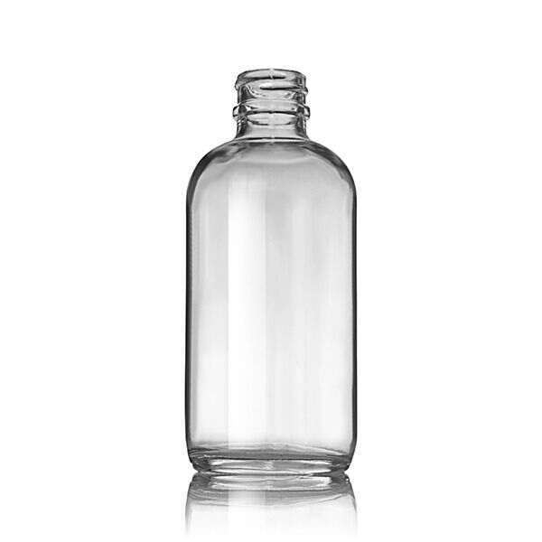 4oz (120ml) Flint (Clear) Boston Round Glass Bottle (160 Pack) - 22-405 Neck