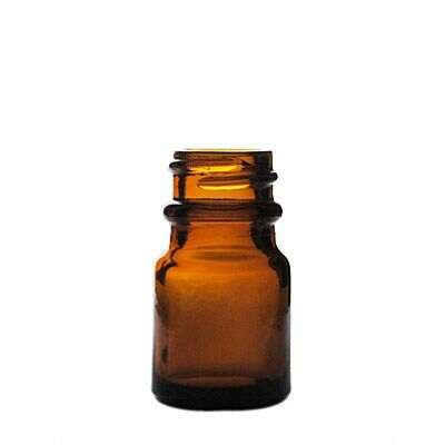 6cc Amber Wide Mouth Round Glass Bottle - 20-405 Neck