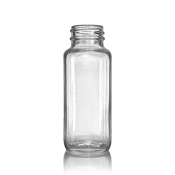 4oz (120ml) Flint (Clear) Wide Mouth French Square Glass Bottle - 33-400 Neck
