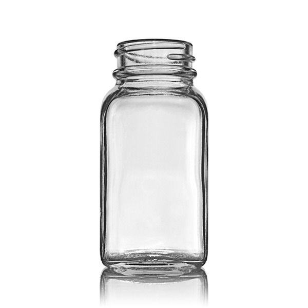 2oz (60ml) Flint (Clear) Wide Mouth Square Glass Bottle - 33-400 Neck