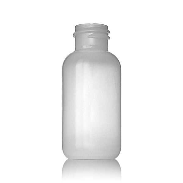 1oz (30ml) Natural LDPE Boston Round Plastic Bottle - 20-410 Neck