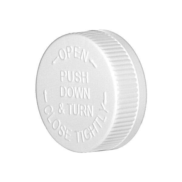 45-400 White PP Rib Side Push Down and Turn Child-Resistant Closure (CRC) - F217 PS22 Liner