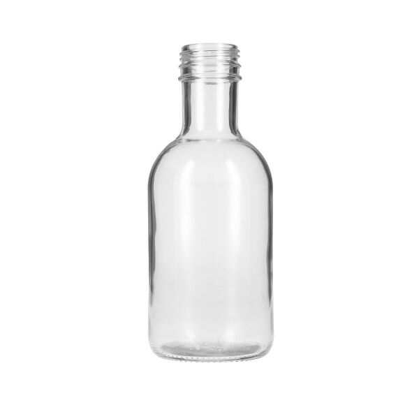 16oz (473ml) Flint (Clear) Glass Stout Round Bottle - 38-1768 Tamper Evident Neck