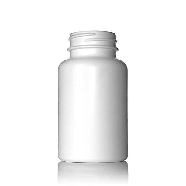 150cc (5.07) WHITE HDPE S-Packer Wide Mouth Round Plastic Bottle - 38-400 Neck