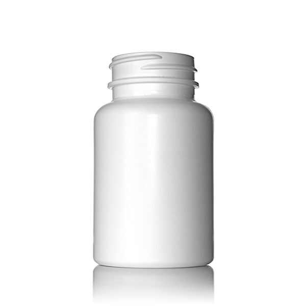 120cc (4oz) White HDPE S-Packer Wide Mouth Round Plastic Bottle - 38-400 Neck