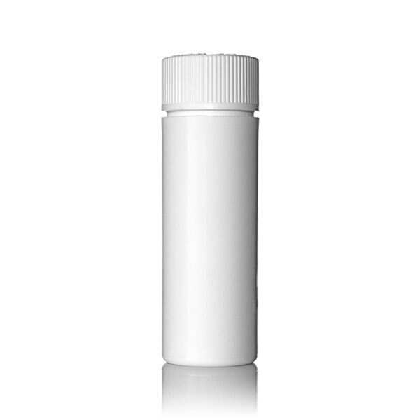 20mm White PP Cannabis Vial With PP Push Down and Turn Child-Resistant Closure (CRC)