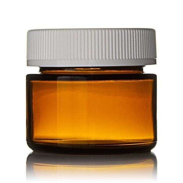2oz (60ml) Amber Glass Straight Sided Flush-Fit Cannabis Jar - 53-400 CRC Neck