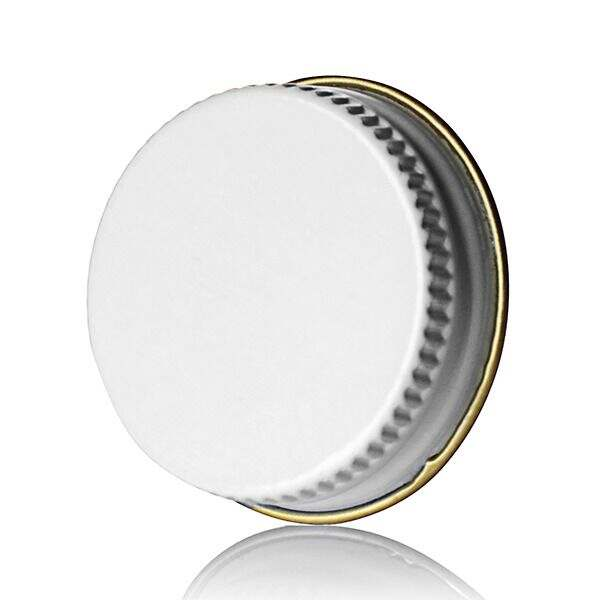 22-400 White Knurled Edge Tin Plate Metal Screw Cap - Pulp and Poly Liner
