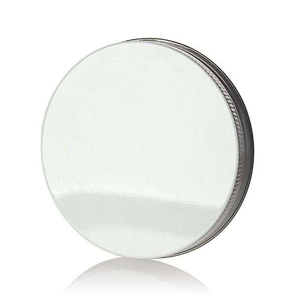 89-400  White Knurled Edge Tin Plate Metal Continuous Thread (CT) Cap - Pulp and Poly Liner
