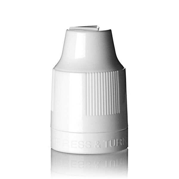 12mm White PP TE CRC Cap with HDPE TIP - 1mm Orifice for 10ml E-Juice Bottle