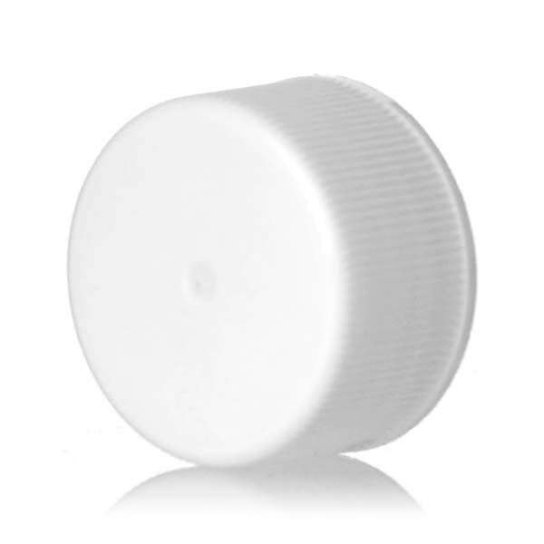 24-414 White Ribbed Side Matte Top Plastic Screw Cap - Foam Liner