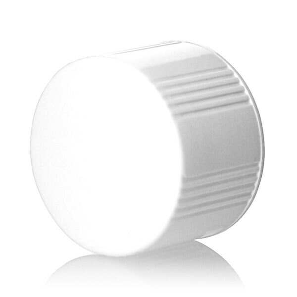 28-430 White Rib Side Smooth Top Urea Plastic Cap - LDPE Cone Liner