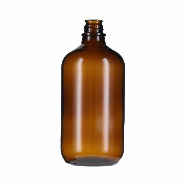 1 Liter (1,000ml) Pour-Out Round Glass Bottle - 33-430 Neck