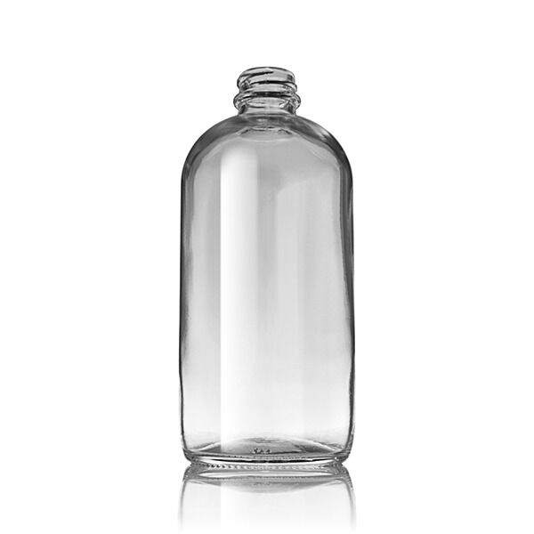 16oz (480ml) Flint (Clear) Boston Round Glass Bottle - 28-400 Neck