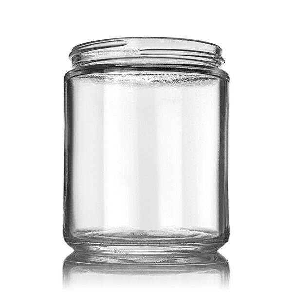 250ml Flint (Clear) Straight-Sided Round Cream Glass Jar (24 Pack) - 70-405 Neck