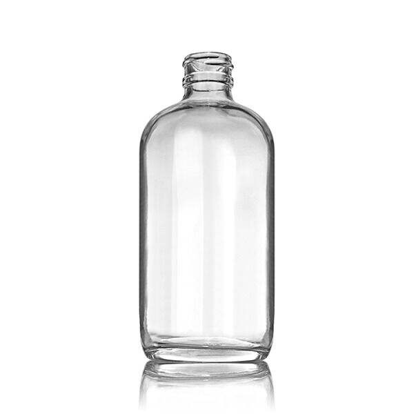 8oz (240ml) Flint (Clear) Boston Round Glass Bottle - 24-400 Neck
