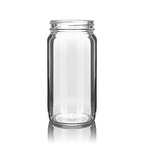 8oz (240ml) Flint (Clear) Sample Round Glass Jar - 58-400 Neck
