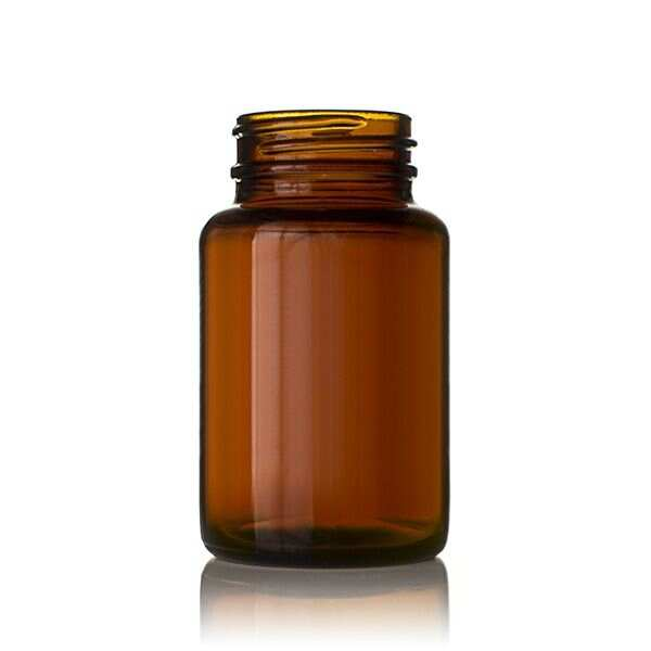 100cc Amber Wide Mouth Round Glass Bottle - 38-400 Neck