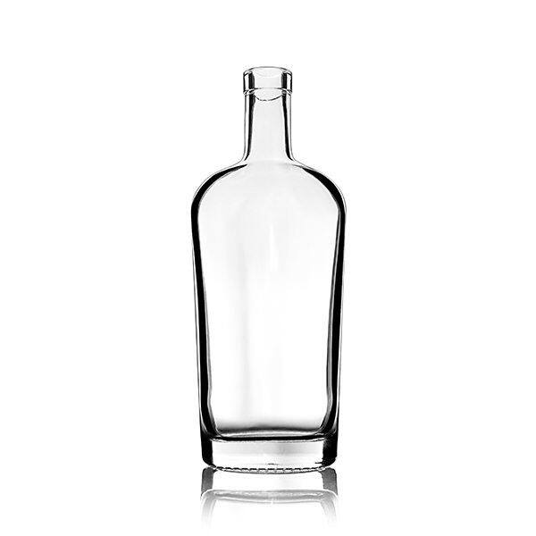 750ml (25.4oz) Flint (Clear) Philadelphia Oval Flask Spirits Bar Top Glass Bottle - 21.5mm Neck