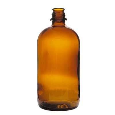 20oz (600cc) Amber Pour-Out Round Glass Bottle - 28-430 Neck
