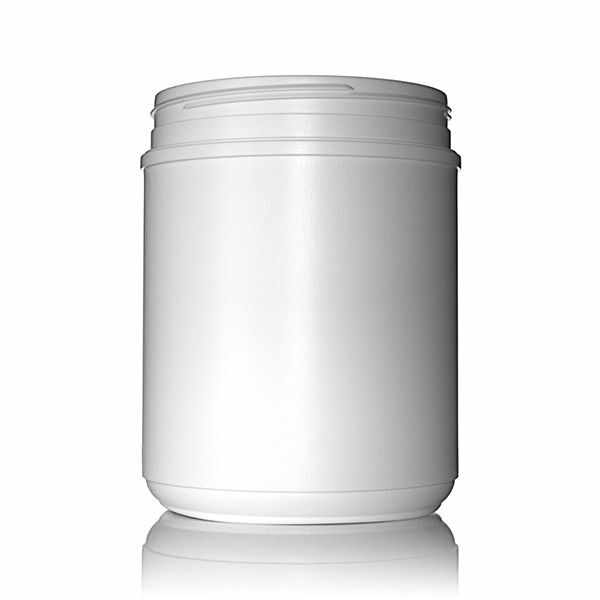 60oz (1800ml) White HDPE Round Plastic Canister - 120MM Neck