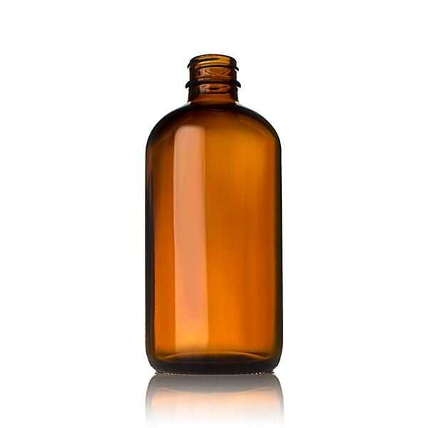 8oz (240ml) Amber Boston Round Glass Bottle - 24-400 Neck