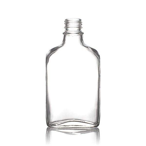 200ml Flint (Clear) Glass Flask Tamper Evident Oval Body - 28-350 Neck (6 Pack)