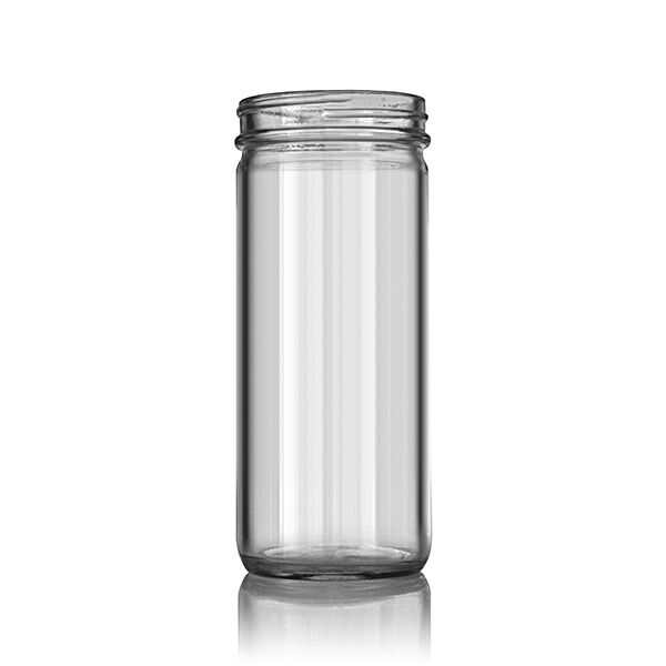 8oz (240ml) Flint (Clear) Paragon Round Glass Jar - 58-400 Neck (12 Pack)