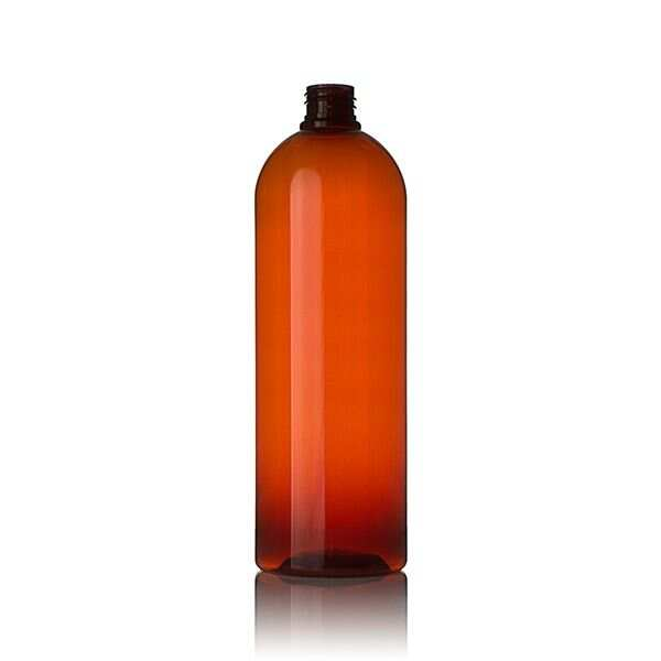1Liter (1000ml) Amber PET Cosmo Round Plastic Bottle - 28-410 Neck