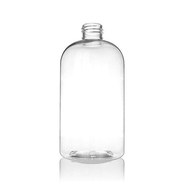 12oz (360ml) Clear PET Boston Round - 24-410 Neck Made With 35% PCR