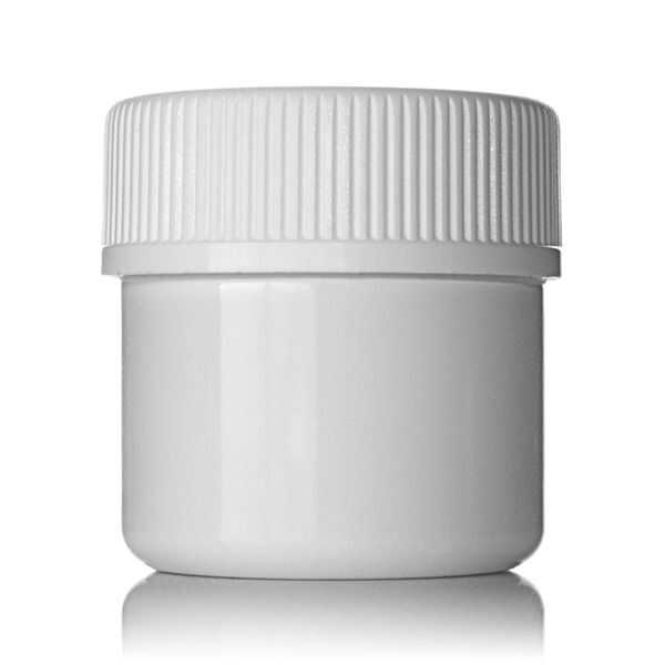 1oz (30ml) White PET Wide Mouth Straight-Sided  Jar - 38-400 Neck