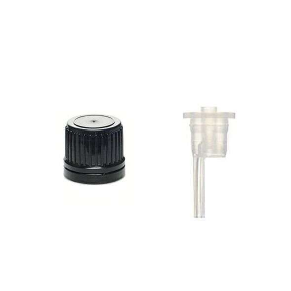 18mm DIN Black HDPE Tamper Evident Cap With LDPE Vertical Dropper - 0.9mm Orifice