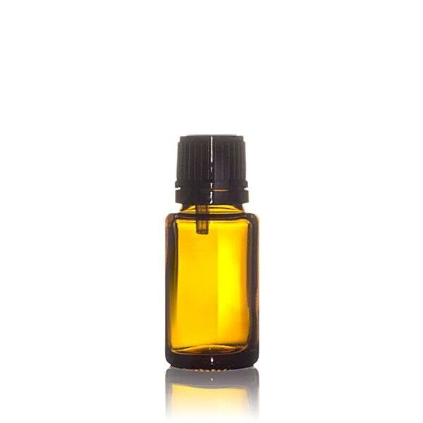 15ml (0.5oz) Amber Glass Dropper Bottle Round with 0.9mm Vertical Dropper and Black Tamper Evident Screw Cap