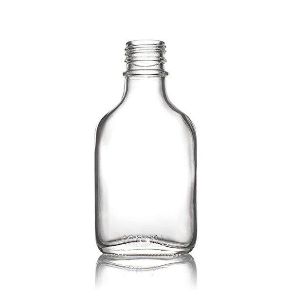 100ml Flint (Clear) Glass Flask Tamper Evident Oval Body - 28-350 Neck