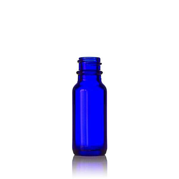 0.5oz (15ml) Cobalt Blue Big Bead Boston Round Glass Bottle - 18-400 Neck