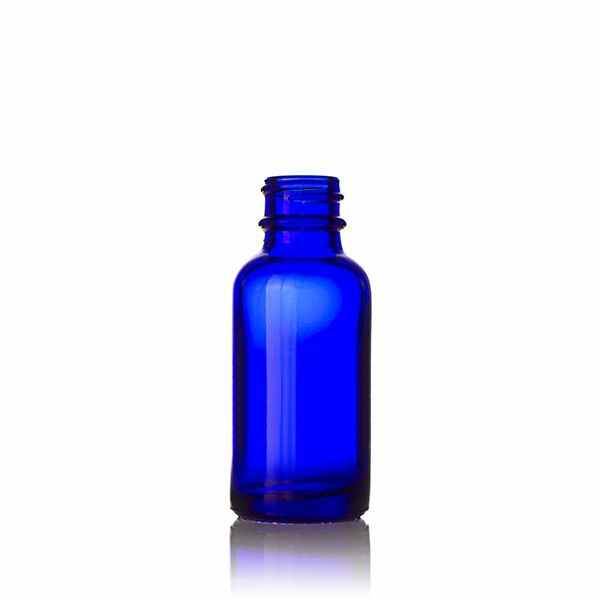 1oz (30ml) Cobalt Blue Big Bead Boston Round Glass Bottle - 20-400 Neck