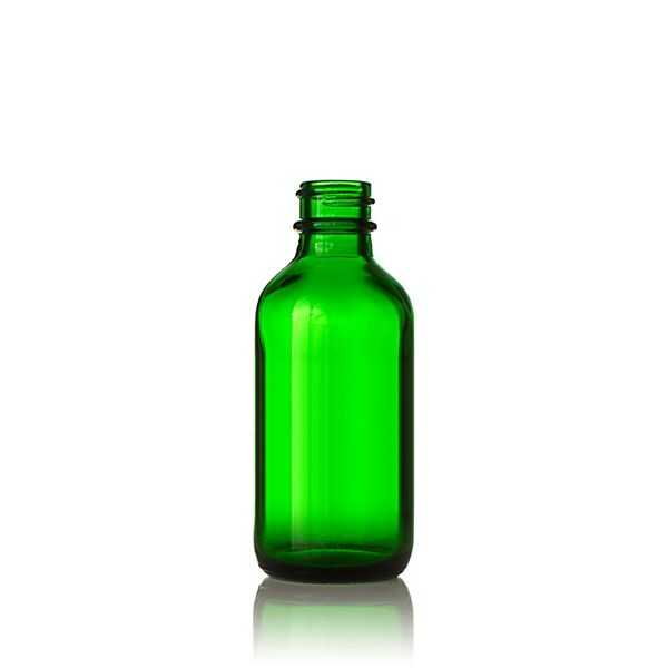 2oz (60ml) Green Big Bead Boston Round Glass Bottle - 20-400 Neck