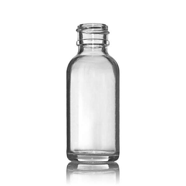 1oz (30ml) Flint (Clear) Boston Round Glass Bottle Small Transfer Bead - 20-400 Neck