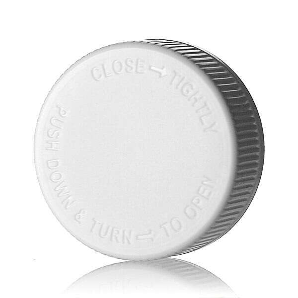 38-400 White PP Push Down and Turn Text Top Child-Resistant Cap (CRC) - F217 Liner