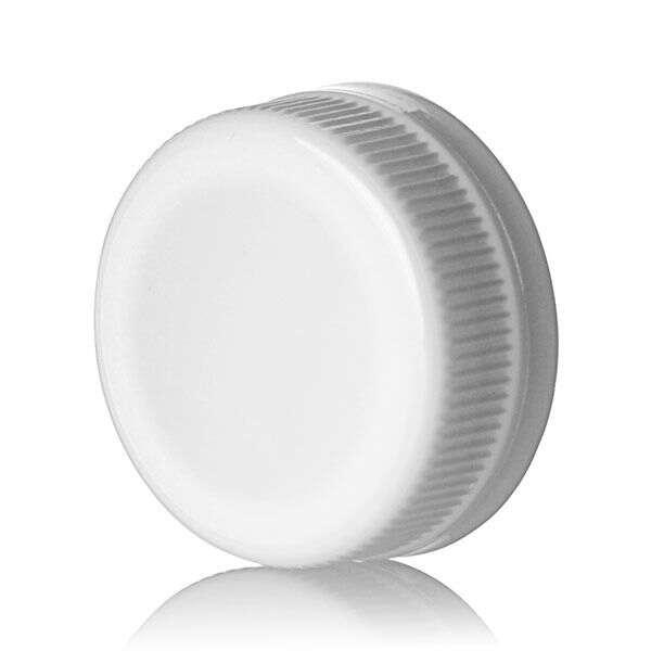 38-385 White PP Rib Side Matte Top With Tamper-Evident Drop Band DBJ Cap - Plug Seal