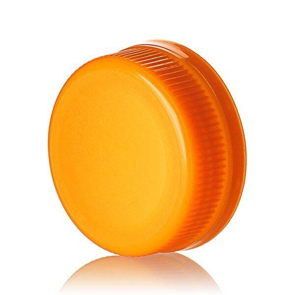 38-385 Orange PP Rib Side Matte Top With Tamper-Evident Drop Band DBJ Cap - Plug Seal
