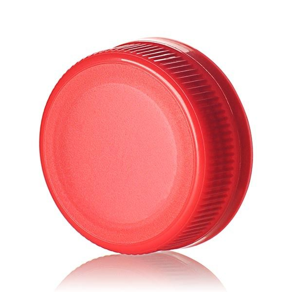38-385 Red PP Rib Side Matte Top With Tamper-Evident Drop Band DBJ Cap - Plug Seal