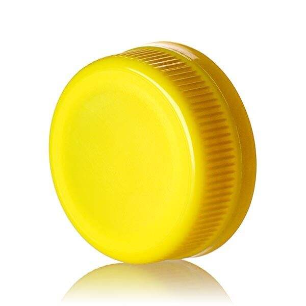 38-385 Yellow PP Rib Side Matte Top With Tamper-Evident Drop Band DBJ Cap - Plug Seal