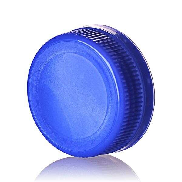 38-385 Blue PP Rib Side Matte Top With Tamper-Evident Drop Band DBJ Cap - Plug Seal