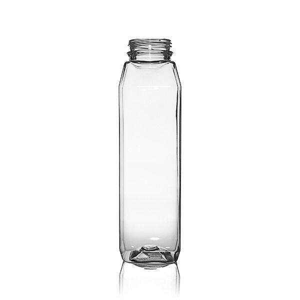 12oz (360ml) Clear PET Wide Mouth Square Beverage Bottle - 38-385 Tamper Evident Neck