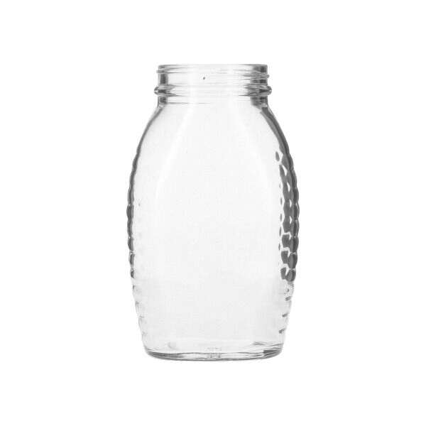 11.5oz (345ml / 1lb) Flint (Clear) Glass Wide-Mouth Honey Jar Oblong - 58-405 Neck
