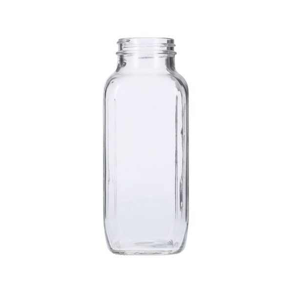 16oz (480ml) Flint (Clear) Glass French Square Bottle - 48-405 Neck