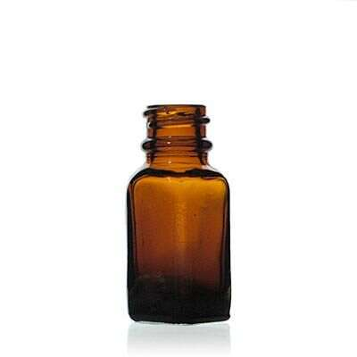 0.25oz (7ml) Amber Narrow-Mouth Square Glass Bottle - 18-400 Neck