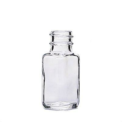 0.5oz (15ml) Flint (Clear) French Square Glass Bottle - 20-400 Neck