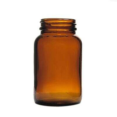 150cc (5oz) Amber Wide Mouth Round Glass Bottle - 45-400 Neck